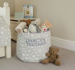 Lead image Kiddiewinkles Personalised Grey Star Toy Storage Basket